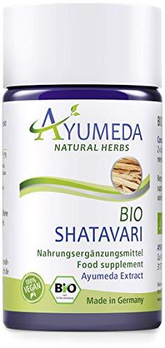 Ayumeda BIO Shatavari Extrakt | Ayurveda für Frauen | Asparagus racemosus | Indischer Spargel | mit 176,4 mg Saponinen | Geprüfte Qualität | Made in Germany | 60 Kapseln | 100% BIO | 100% Vegan
