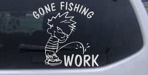 Gone Fishing Pee on Work Hunting and Fishing Decal Sticker Die Cut Decal Bumper Sticker for product image