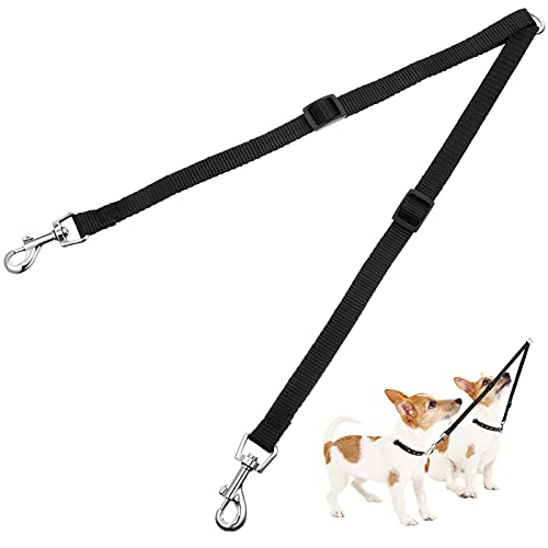 Correas Dobles Ajustables de Mascotas Correa de Doble Divisor de Doble Perros sin Enredos de Entrenador Guiar Caminar para Dos Perros, Negro