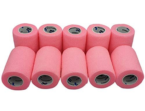 PintoMed Bendaggio Coesivo -10 x ROSA - garza elastica - 10 rotoli x 7,5 cm x 4,5 m autoadesiva flessibile bende, primo soccorso - Wrap Cohesive Banda