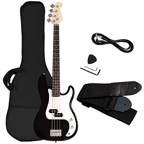 Goplus Electric Bass Guitar Full Size 4 String with Strap Guitar Bag Amp Cord (Black Bass 4 Straps)