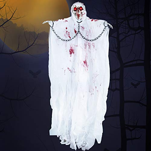 Halloween Hanging Grim Reaper (White) with IR Sensor, Creepy Sound and Light-up Eyes for Halloween Outdoor, Lawn, Yard, Patio Decoration, Halloween Haunted House Decoration