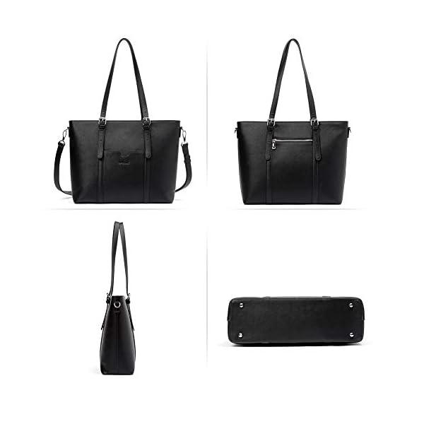BROMEN Women Briefcase 15.6 inch Laptop Tote Bag Vintage Leather Handbags Shoulder Work Purses 3