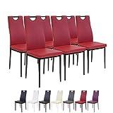 Albatros SALERNO Esszimmerstühle, 6-er Set, rot, SGS getestet