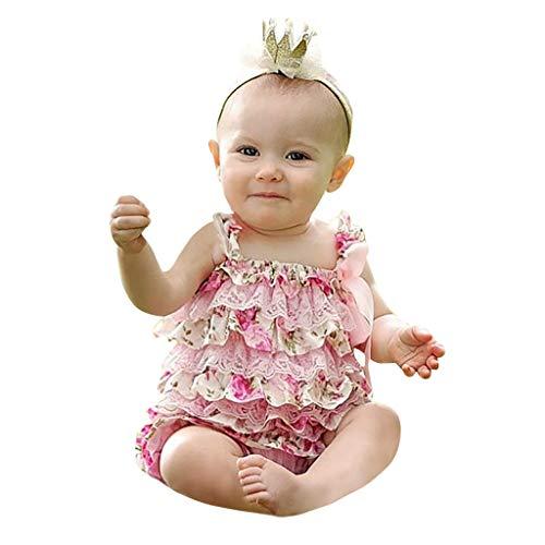 Julhold Neugeborenes Baby Mädchen Sommer Strampler Rüschenspitze Kuchen Floral Baumwolle Overall Outfits 0-2 Jahre Neu