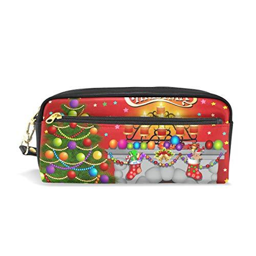 Ahomy Federmäppchen für Mädchen und Jungen, Weihnachtsbaum, Kamin, Kerzen, Stifttasche, Make-up-Tasche, große Kapazität, wasserdicht für Frauen