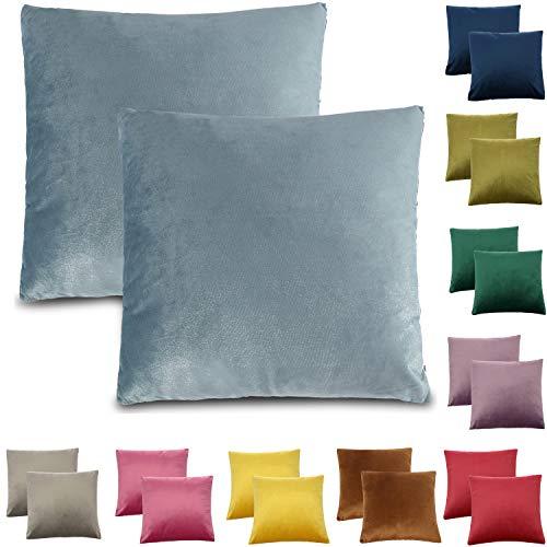 CALIYO Funda de cojín de terciopelo Uni funda de cojín 2 o 3 fundas de almohada para cojín decorativo cojín de sofá 45 x 45 cm muchos colores, azul claro, 45 x 45 cm