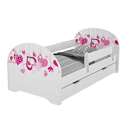 Jugendbett Kinderbett mit Rausfallschutz Matratze Schubladen und Lattenrost Kinderbetten für Mädchen und Junge 140x70cm oder 160x80cmKinder Bett mit eingebautem Kopfteil (160x80cm, Hearts)