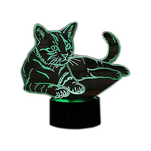Ahat Luz de la noche 3D lámpara Efecto de luz visual 7 colores cambios, regalo de Navidad (Gato)