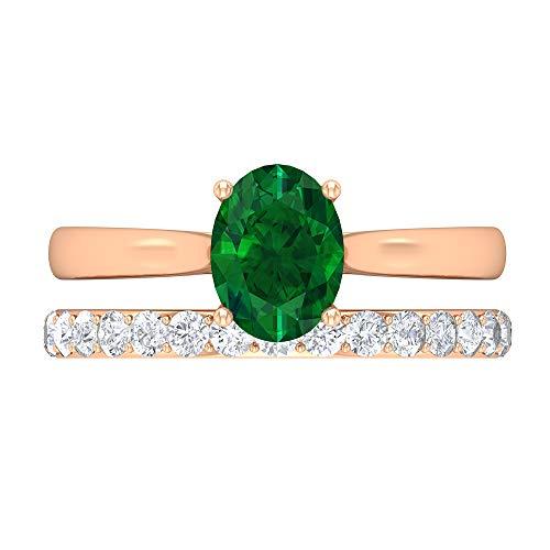Conjunto de anillos de novia esmeralda, anillo de compromiso cónico, piedras preciosas de 1,8 quilates, anillo solitario ovalado D-VSSI Moissanite 8X6, 18K Oro rosa, Size:EU 65