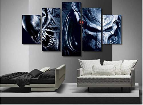 WUZHIXIN 5 Piezas De Arte,HD Cuadro Moderno Marco Pintura,sobre Lona Impresión,Listo para Colgar Hogar Decoracion,Tamaño Total: (H-80 Cm X M/B-150 Cm) Aliens Vs Depredador