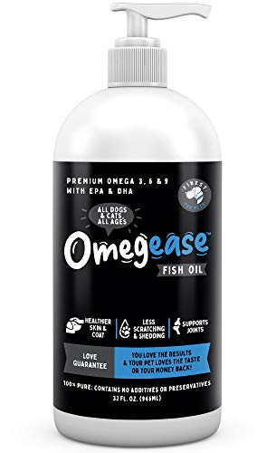 100% Pure Omega 3  6 & 9 Fish Oil for Dogs and Cats. Supports Joint Function  Immune & Heart Health. All Natural EPA + DHA Fatty Acids for Skin & Coat. Liquid Food Supplement for Pets - 32 oz