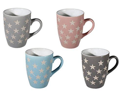 Becher Steingut mit Sternen 8x10 cm Kaffee Tee Tasse Kaffeebecher