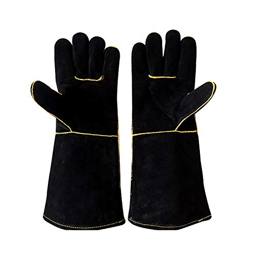 YFINE Leren Lassen Handschoenen Grill Magnetron Oven Warmte-isolatie Outdoor Arbeidsverzekering Hoge Temperatuur Resistant Handschoenen