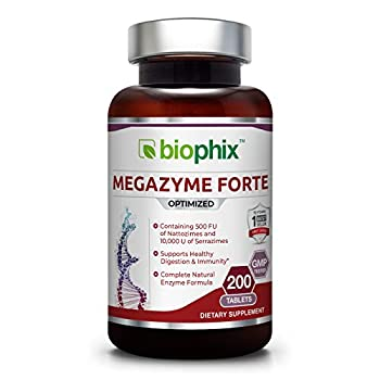 Megazyme Forte 200 Tablets - Natural Plant Proteolytic Enzymes Nattozimes Serrazimes Supports Digestive System Immune Health