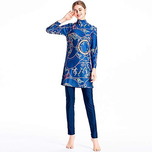 XDXART dames Modest Moslim Badpak Tops Hoed Lang-Broek Lang-Sleeve Patroon Badmode Strandkleding islamitische kostuum