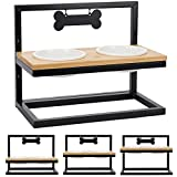 Elevated Dog Bowls Adjustable to 3 Heights with Marker, Antirust Stainless Steel Frame Raise Pet Feeder for Dog, Update Break-Resistant / Safe Melamine Food and Water Bowls, Black - Patented