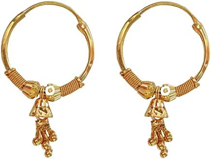 Certified Solid 22K/18K Yellow Fine Gold Square Round Beads Design Hoop Earrings Available In Both 22 Carat And 18 Carat Fine Gold,Size Height-20MM Width-11MM For Women,Girls,Kids,Men's Bali,Gifts
