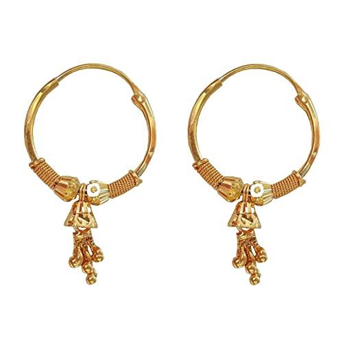 Oro fino amarillo sólido certificado de 22 K/18 K Cuadrado Diseño Aretes de aro Disponible en oro fino de 22 K y 18 K, tamaño Altura-20MM Ancho-11 Para mujeres, niñas, niños, hombres, Bali, regalos