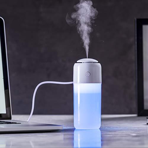 Humidificador elegante y decorativo con luz led e iluminación multicolor. Cuenta con 2 tipos de vaporización: modo continuo y a intervalos. Con filtro de recambio y cable de corriente USB.