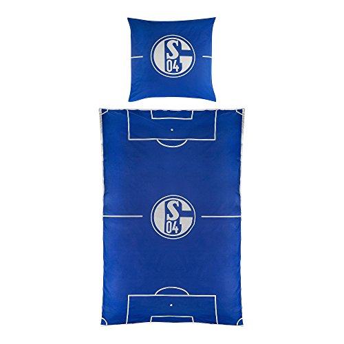 FC Schalke 04 Baumwoll-Bettwäsche Spielfeld 135x200cm, 100% Baumwolle