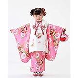 七五三 着物 3歳 被布着物7点フルセット ピンク地に鞠と桜(被布ちりめん白)