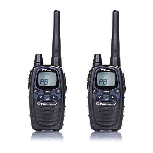 Midland G7E Pro - Pareja de walkie talkies, 8 canales, color negro