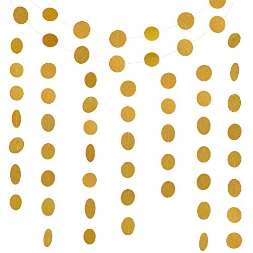 MerryNine Paper Garland, 5 Pack 50ft Glitter Paper Garland Circle Dots Hanging Decor, Paper Banner for Baby Shower, Birthday, Nursery Party Decor(Circle Polka Dots-Glitter Gold)
