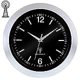 Deuba Reloj de Pared Controlado por Radio silencioso de Alta precisión de Vidrio Plástico 30x4cm