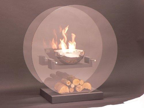 Palua 3 - zwevende vuurschaal achter rond glas