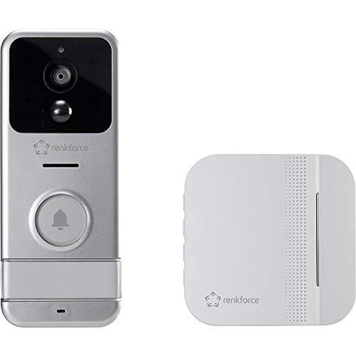 Renkforce RF-3206026 IP-Video-Türsprechanlage WLAN, Funk Komplett-Set Silber, Weiß