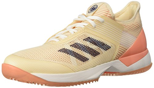 adidas Women's Adizero Ubersonic 3 Clay Tennis Shoe, Ecru Tint/Noble Indigo/Chalk Coral, 9.5 M US