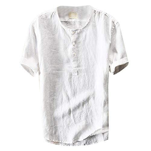 Aiserkly Mode Herren Sommer Button Casual Leinen und Baumwolle Kurzarm Top Bluse Weiß L