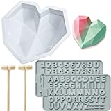 Diamond Heart Mousse Cake Mold Trays 8.7 Inch Silicone Baking Pan Oven Safe Not Sticky Mould, Wooden...