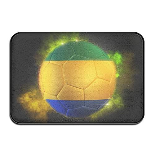 Fußball, strukturiert mit Flagge von Gabun Badematte Fußmatte Teppich, Anti-Rutsch-Teppich für Innen-Außenküche Eingang Badezimmer