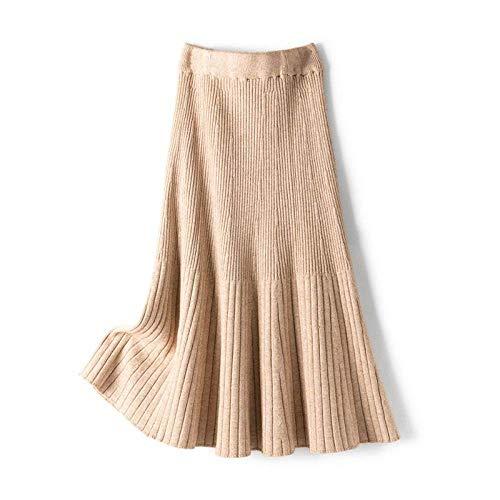 JJDSL Damenröcke, braun, Damen, einfach, hohe Taille, Strickrock, Herbst, Winter, lässig, Fischschwanz-Rock, dicker langer Rock für Frauen