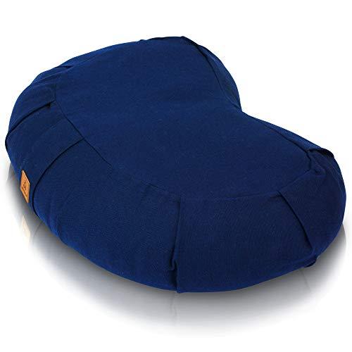 Buckwheat Crescent Half Moon Therapeutic Meditation Cushion | Yoga Pillow | Ergonomic Design...