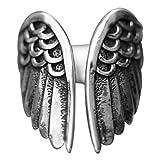 Mumaya Anillo de alas de ángel, Anillo Abierto de alas de ángel Negro teñido Retro Europeo y Americano, Anillo de Plata oxidada, joyería Anillo Retro apilable de joyería de ala de ángel