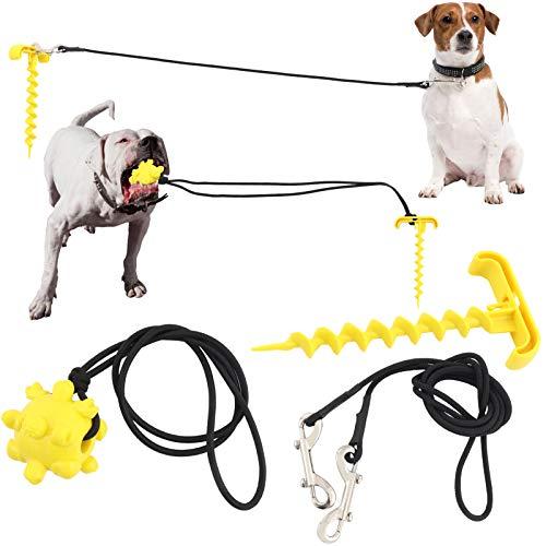 Welltop Bodenanker für Hundeleine, Pet Tie Out Kabel, Spiralförmiger Erdspieß, Tie-Out Leinen für Hunde, Laufleine und Hund kauen Molar Ball Spielzeug für Outdoor Garten und Camping, Bis zu 120 lbs