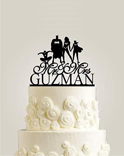 Familie Bruiloft Taart Topper, Batman en Wonder Vrouw met Bat-Meisje en Spider-Man Taart Topper voor Bruiloft