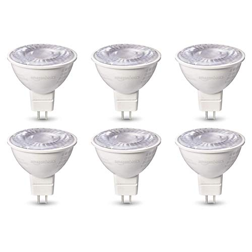 AmazonBasics 50W Equivalent, Warm White, Dimmable, 10,000 Hour Lifetime, MR16 (GU 5.3 Base) LED Light Bulb | 6-Pack