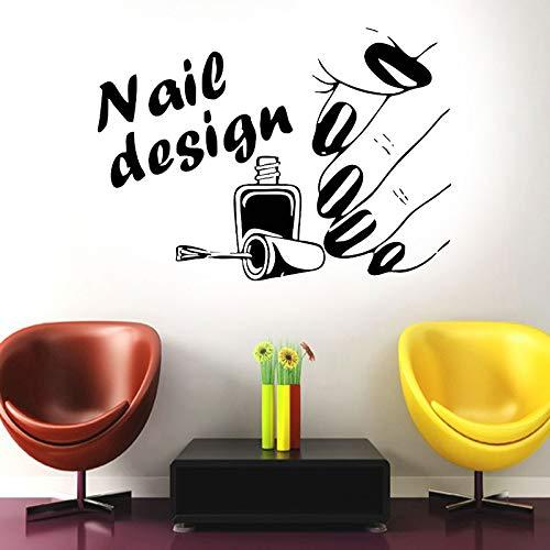 HNXDP Nagelstudio Shop Design Vinyl Wandtattoo Airbrush Maniküre Business Polish Abnehmbares Dekor Wandbild Fensteraufkleber Wallpaper F774 57x41cm
