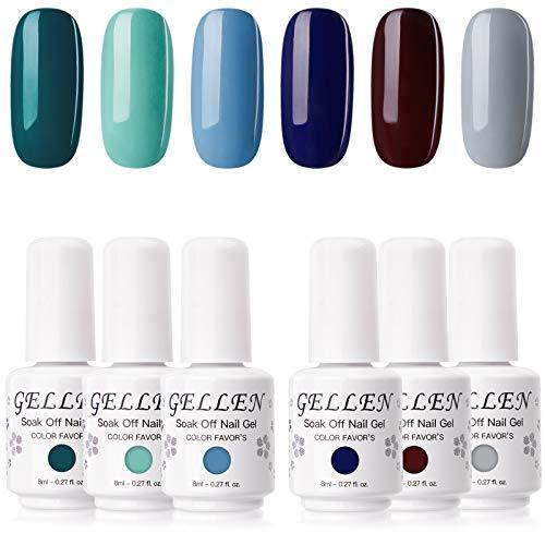 cnd at home gel nail kits Gellen Gel Nail Polish Kit - 6 Colors Sapphire Emeralds Tones Classy Elegance Dark Nail Gel Colors, Home Gel Manicure Kit