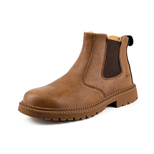 QUNLON Slip-on Unisex Arbeitssicherheit Atmungsaktive Schuhe Stiefel mit Stahlkappe Kaffee-Farbe -42EU
