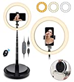 SHANSHUI 11.4'' Selfie Ring Light with Stand and Phone Holder, One-Piece Design USB Powered LED Circle Ring Light 3 Color Modes for Tiktok YouTube Video Makeup Live Stream for All Smartphones