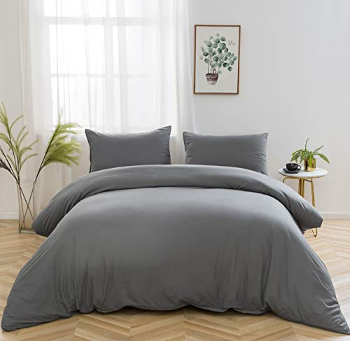 AYSW Bedding Set and Fitted Sheet King Size 4 Pieces 100GSM Brushed Microfiber Duvet Cover with Pillowcases Luxury with 16'' Deep Pocket Bed Sheet Soft Duvet Cover Fade Resistant Grey