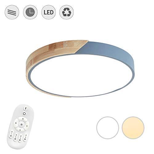 LeMeiZhiJia 48W LED Deckenleuchte Ultra-dünne 5cm - Holz Bunte Runde Deckenlampe für Schlafzimmer Küche Büro Wohnzimmer, Dimmbar