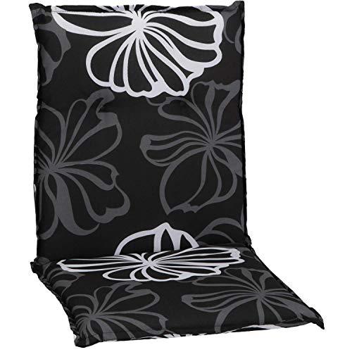 Beo Niedriglehner Auflagen UV-beständig Barcelona | Made in EU nach Öko-Tex Standard | Waschbare Stuhlauflage Niedriglehner | Atmungsaktive Auflagen Niedriglehner mit grauen Blüten