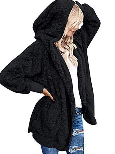 Beyove Damen Mantel Plüschjacke Frau Wintermantel Kurzmantel Warm Cardigan Kapuzenjacke mit Taschen Winterjacke, Schwarz, M
