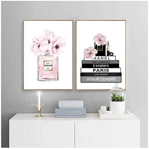 GUOCHEN Pintura en Lienzo, Botella de Perfume de Flores, Libro de Moda, póster de Maquillaje, impresión, Imagen artística de Pared, decoración Moderna para habitación de niña y Mujer sin Marco